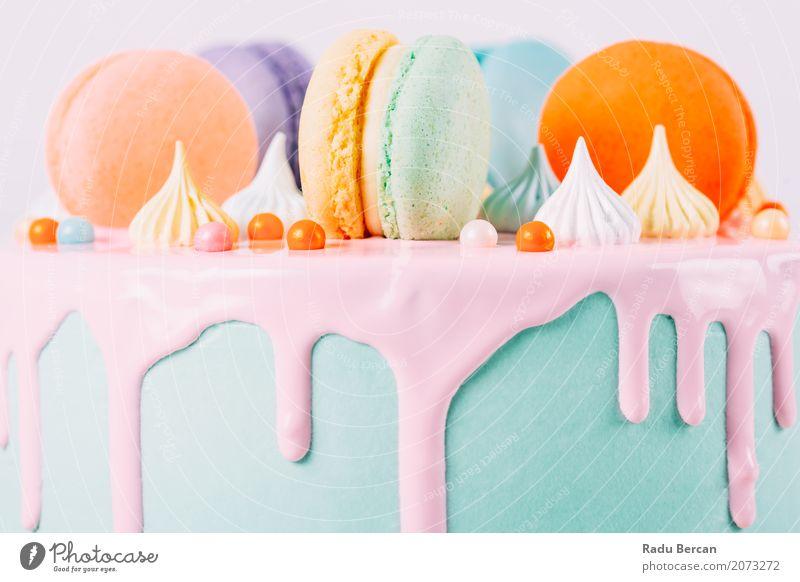 Bunter Macaron-Geburtstags-Kuchen und süßer Süßigkeits-Belag blau Farbe grün weiß Essen gelb Lebensmittel Feste & Feiern orange rosa Ernährung retro rund