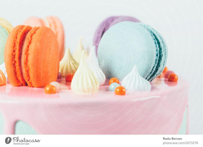 Bunter Macaron-Geburtstags-Kuchen und süßer Süßigkeits-Belag blau Farbe weiß Essen Lebensmittel Feste & Feiern orange rosa Ernährung retro rund violett lecker
