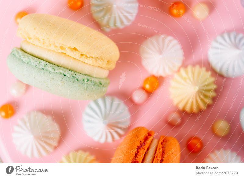 Bunter Macaron-Geburtstags-Kuchen und süßer Süßigkeits-Belag Farbe grün weiß Essen gelb Lebensmittel Feste & Feiern orange rosa Ernährung retro genießen rund