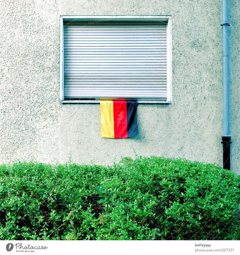 schön wars Lifestyle Stil Freizeit & Hobby Fan Sträucher Fassade Fenster Fahne Häusliches Leben Deutschland Weltmeisterschaft Stolz Nationalvolk Deutsche Flagge