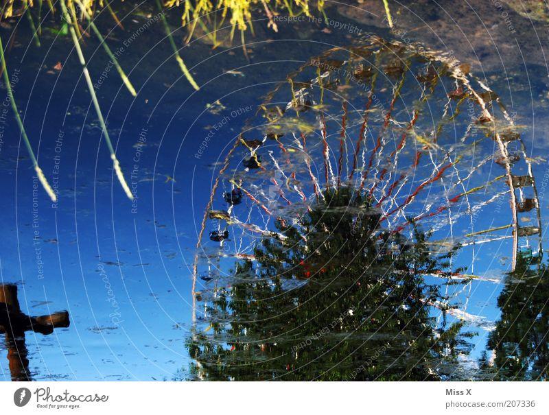 Ufer Feste & Feiern Jahrmarkt Natur Wasser Park Seeufer Teich glänzend Riesenrad Pfütze Spiegelbild Farbfoto mehrfarbig Außenaufnahme Menschenleer