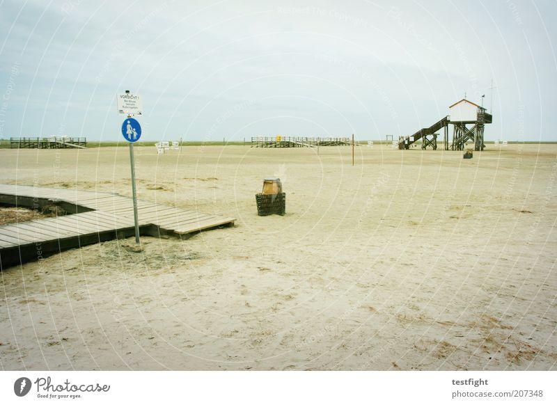 westküste Natur Strand Ferien & Urlaub & Reisen Haus Wolken Einsamkeit Ferne Freiheit Landschaft Küste Umwelt Schilder & Markierungen Tourismus Klima Hütte Nordsee