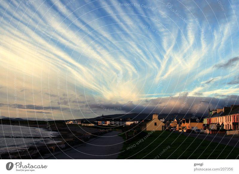 Éire Himmel Meer Strand Ferien & Urlaub & Reisen Haus Wolken Straße Herbst Küste Horizont Europa Klima Streifen Sehnsucht Bucht Fernweh