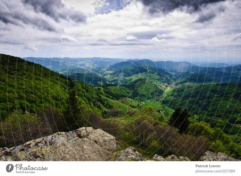 Talblick Umwelt Natur Landschaft Pflanze Himmel Wolken Gewitterwolken Frühling Klima Wetter schlechtes Wetter Wind Baum Wald Hügel Felsen Berge u. Gebirge