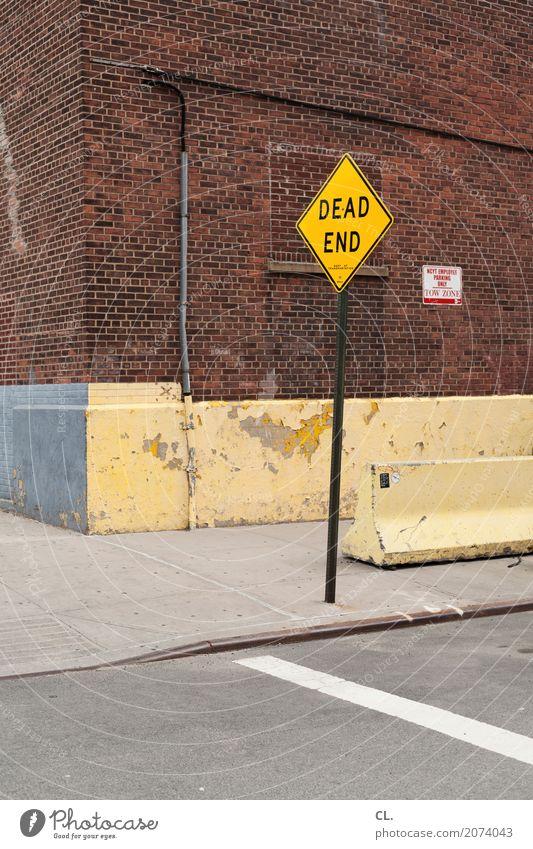 dead end Stadt Haus Straße Wand gelb Wege & Pfade Mauer Verkehr Schriftzeichen trist Schilder & Markierungen USA Zukunft Hinweisschild Pause Ziel