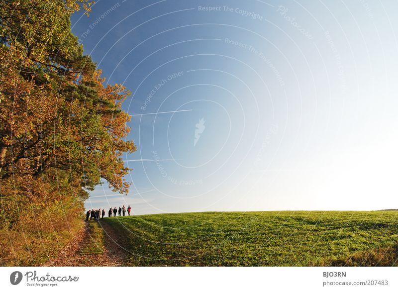 Das Warten auf's Raumschiff Mensch Himmel Natur ruhig Erholung Leben Wiese Herbst Freiheit Umwelt Landschaft Bewegung Menschengruppe Wege & Pfade Luft