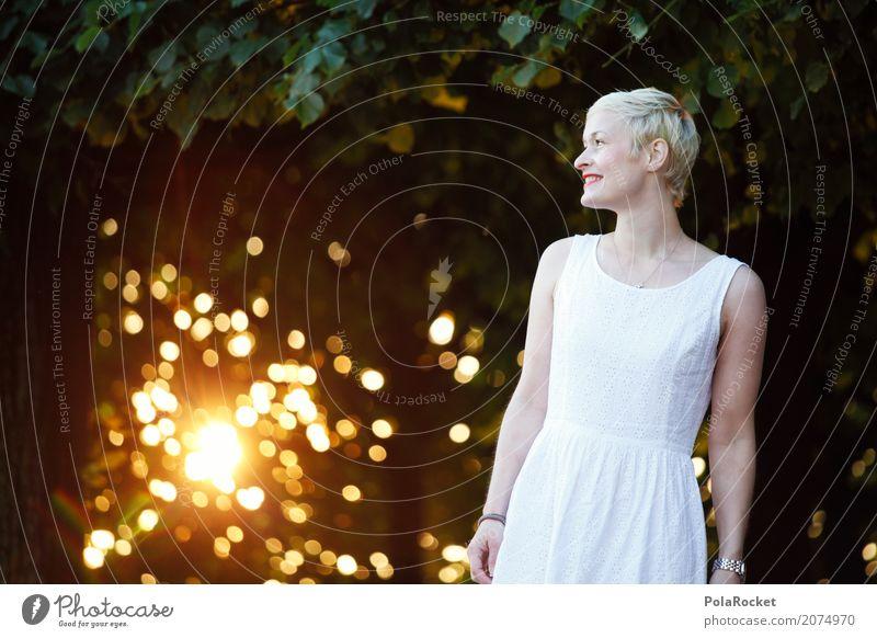 #A# Golden Morning Kunst Kunstwerk ästhetisch Morgen Frau Kleid Morgendämmerung gold Unschärfe Wald Spaziergang Lächeln Außenaufnahme Glück Fröhlichkeit lachen