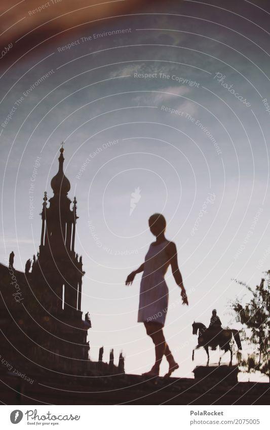 #A# Dresdner Mädl Frau Junge Frau Wasser Mädchen Spielen Kunst gehen ästhetisch Idylle Kultur historisch Brunnen Fernweh Städtereise Gleichgewicht Dresden