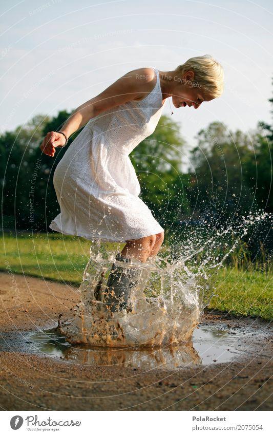 #A# BAAAM! Frau Wasser Freude Leben Spielen Kunst springen Regen Park Wetter ästhetisch Fröhlichkeit Regenwasser Kleid selbstbewußt Landen