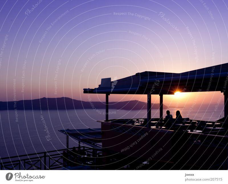 Glück ruhig Ferien & Urlaub & Reisen Sommerurlaub Sonne Meer Insel Paar Partner 2 Mensch Himmel Sonnenaufgang Sonnenuntergang Schönes Wetter beobachten genießen
