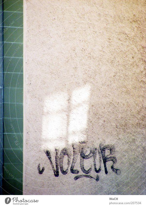 voleur (Dieb) grün Haus Wand Stil Mauer Gebäude Graffiti Design Schriftzeichen einfach Fliesen u. Kacheln Zeichen entdecken Bauwerk zeichnen