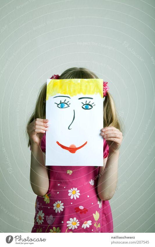 Fröhlich Spielen Mensch feminin Kind Mädchen Kindheit Haare & Frisuren Gesicht 1 3-8 Jahre Zeichen Lächeln lachen frech Fröhlichkeit mehrfarbig gelb rot Gefühle