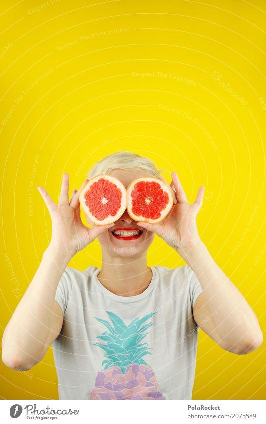 #A# Gut für die Augen! Frau Jugendliche rot Freude Auge gelb Kunst ästhetisch Kraft Orange verrückt Werbung Suche Werbebranche Aggression Kunstwerk