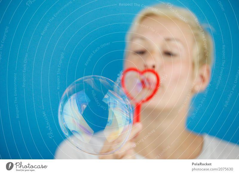 #A# Die Leichtigkeit des Seins Kunst ästhetisch Seifenblase Frau herzförmig Valentinstag Liebe Liebeserklärung Liebesbekundung Liebesgruß blasen blau Freude