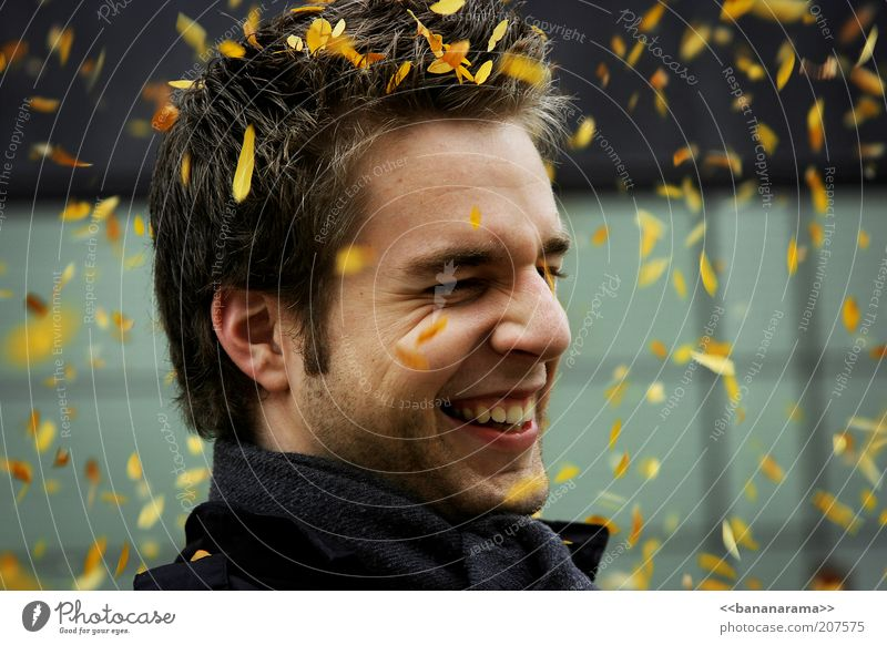 All the leaves are yellow Mann Jugendliche Freude Gesicht gelb Herbst Glück lachen Haare & Frisuren grau Kopf Mensch Zufriedenheit Erwachsene Wind maskulin