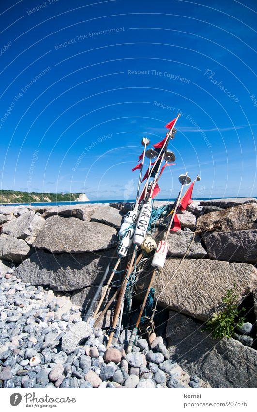 Kap Arkona Umwelt Natur Landschaft Wasser Himmel Sommer Klima Schönes Wetter Wärme Felsen Kreidefelsen Ostsee Meer Insel Rügen Angelrute Stein Steinmauer Küste
