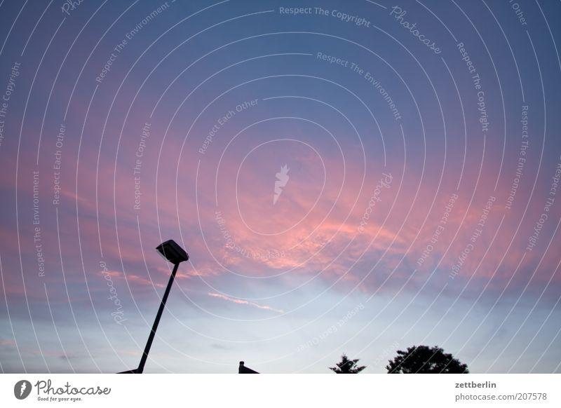 Himmel Gefühle Straßenbeleuchtung Textfreiraum Laternenpfahl Natur Juni Roter Himmel