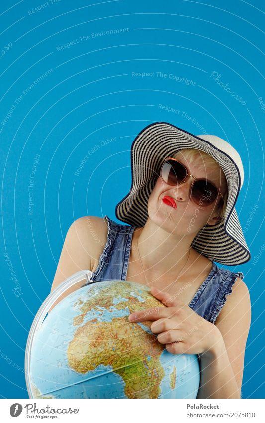 #A# Weltenbummler Frau Ferien & Urlaub & Reisen Reisefotografie Kunst Tourismus Erde Denken nachdenklich ästhetisch Fernweh zeigen Hut Globus Sonnenbrille