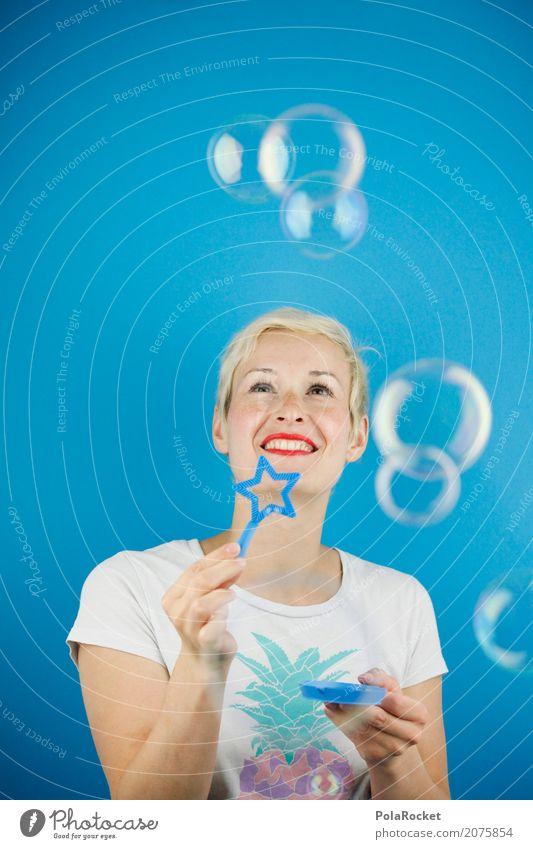 #A# seifenblasend Mensch feminin 1 ästhetisch Seifenblase Ausgelassenheit Freude spaßig Spaßvogel Spaßgesellschaft lachen Feste & Feiern Spielen blau Blick