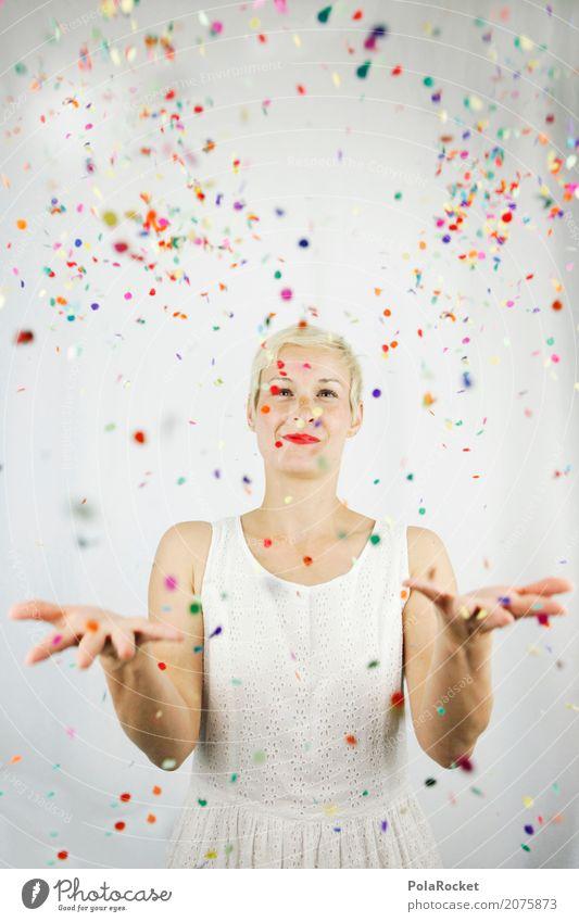 #A# Konfetti frei Frau Junge Frau Freude Kunst Party Feste & Feiern ästhetisch viele werfen Kunstwerk spaßig Spaßvogel Partystimmung Partyservice