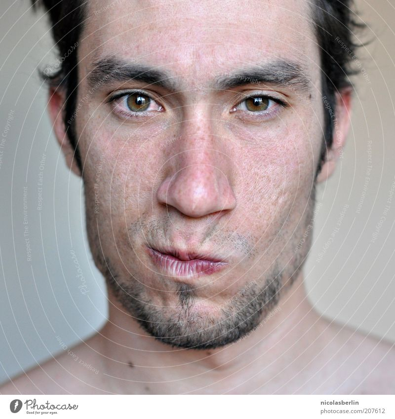 Montags Portrait 03 schön Gesicht maskulin Junger Mann Jugendliche Leben Haut Auge 18-30 Jahre Erwachsene Denken Blick außergewöhnlich frech natürlich Gefühle