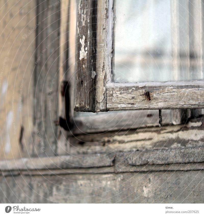 Lebenslinien #14 alt Haus Wand Fenster Holz Mauer Glas offen kaputt verfallen Verfall Lack Reflexion & Spiegelung Bildausschnitt Altbau abblättern