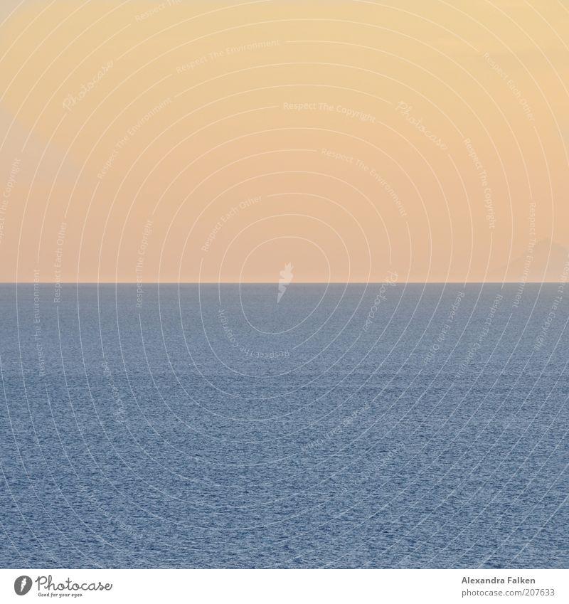 Sonne geht an Meer vorbei. Himmel Sommer ruhig Ferne Horizont Klima Unendlichkeit Schönes Wetter Fernweh Abenddämmerung Natur Wolkenloser Himmel Bildaufbau