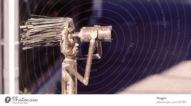 Der Fern-Seher Fernglas Teleskop Dinge wehende Haare Blechfigur