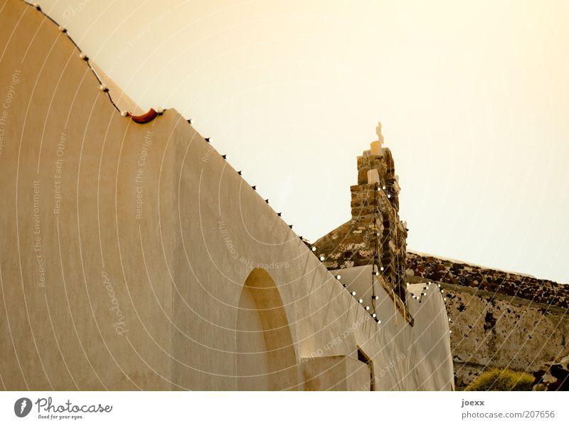 Irgendwo in Mexiko alt Haus Wand Mauer hell braun Religion & Glaube Kirche Dach Griechenland Lichterkette Stadt Santorin Kleinstadt