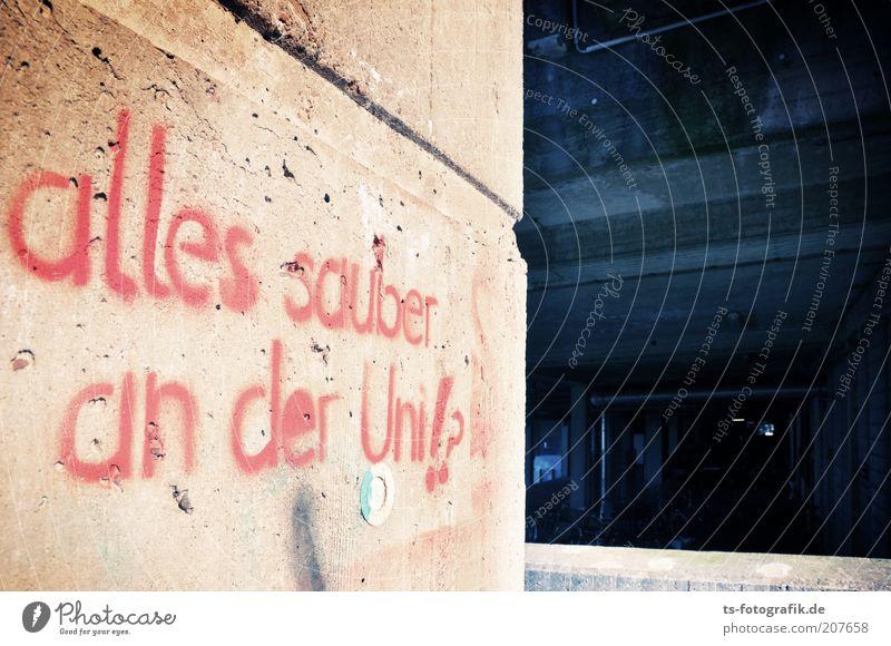 Putzfrauen-Graffiti II blau rot Farbe Wand Architektur grau Mauer Gebäude Fassade Beton Studium Perspektive Schriftzeichen Zukunft Kommunizieren