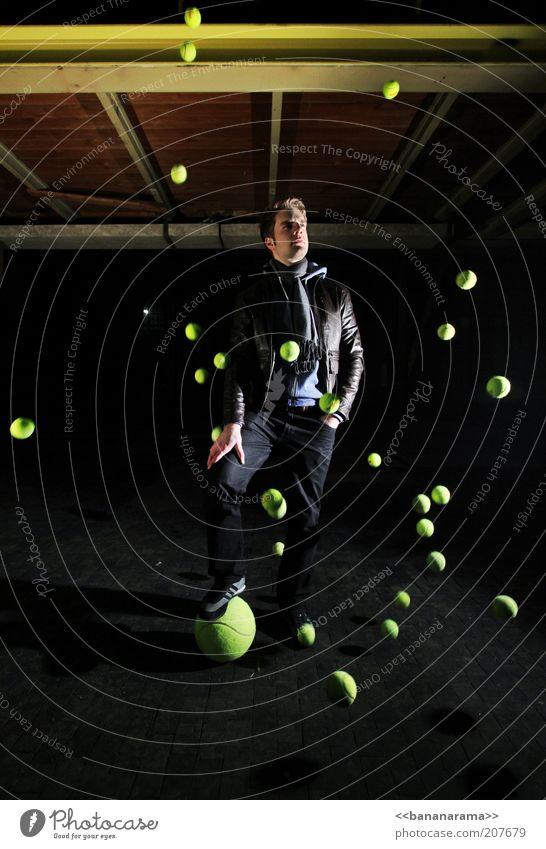CONQUEROR OF THE UNIVERSE Ball Junger Mann Jugendliche 1 Mensch 18-30 Jahre Erwachsene Hose Jacke Leder Schal brünett Blick stehen Coolness Macht stagnierend
