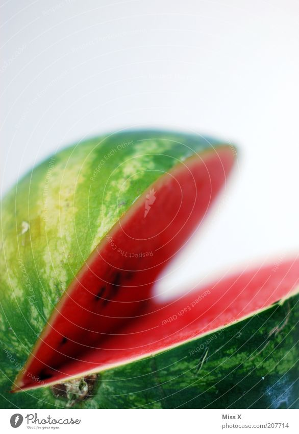 Pac-Man grün rot Farbe Gesundheit Frucht Lebensmittel groß frisch Ernährung süß rein Teile u. Stücke Teilung Appetit & Hunger lecker Bioprodukte