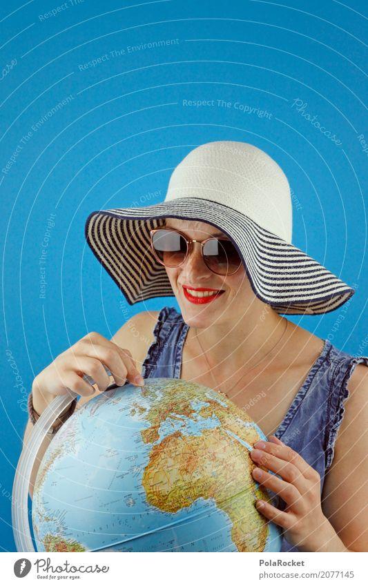 #A# Oh ja, da ja, genau da, is geil Mensch Ferien & Urlaub & Reisen Meer Tourismus Erde ästhetisch Brille Ziel Fernweh Hut Globus Sonnenbrille Kontinente