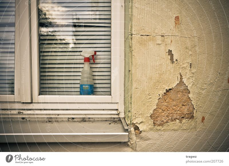 Glasreinigerspray alt Einsamkeit Haus Fenster Wand Gebäude dreckig Fassade Beton authentisch trist Häusliches Leben Vergänglichkeit Dresden Vergangenheit