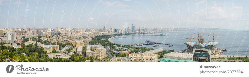 Panorama von Baku, Aserbaidschan Himmel Ferien & Urlaub & Reisen Stadt Meer Architektur Straße Küste Gebäude Park modern Hochhaus Aussicht groß Skyline Denkmal