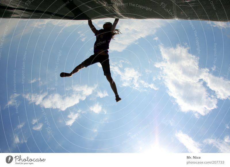 halte durch ! Freizeit & Hobby Ferien & Urlaub & Reisen Sport Fitness Sport-Training Klettern Bergsteigen Mädchen Körper Himmel Wolken Sonne Sonnenlicht