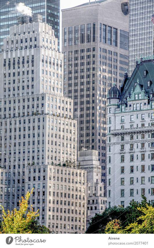 im Grünen Park New York City Manhattan Stadtzentrum Skyline Haus Hochhaus Fassade Häusliches Leben eckig hoch eng geschlossen Außenaufnahme