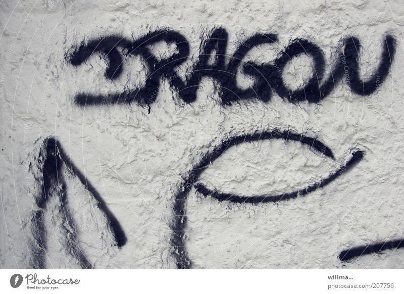 puff the magic ...? weiß schwarz Wand Graffiti Mauer Fassade Schriftzeichen Zeichen Wort Putz Text Drache Schmiererei Kritzelei