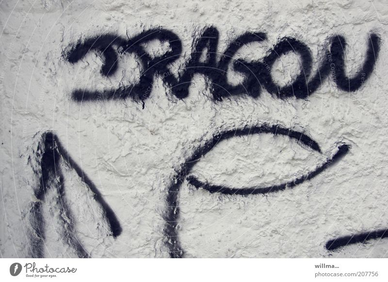 puff? weiß schwarz Wand Graffiti Mauer Fassade Schriftzeichen Zeichen Wort Putz Text Drache Schmiererei Kritzelei