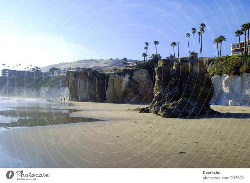 Felsige Entspannung Natur Meer Strand Ferien & Urlaub & Reisen ruhig Stein Sand Landschaft Küste Felsen Reisefotografie Bucht Palme Schönes Wetter Blauer Himmel Pazifik