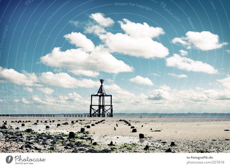 Zeichen am Horizont Himmel weiß Meer blau Strand Ferien & Urlaub & Reisen schwarz Wolken Ferne Freiheit Holz Stein Wege & Pfade Küste Insel Tourismus