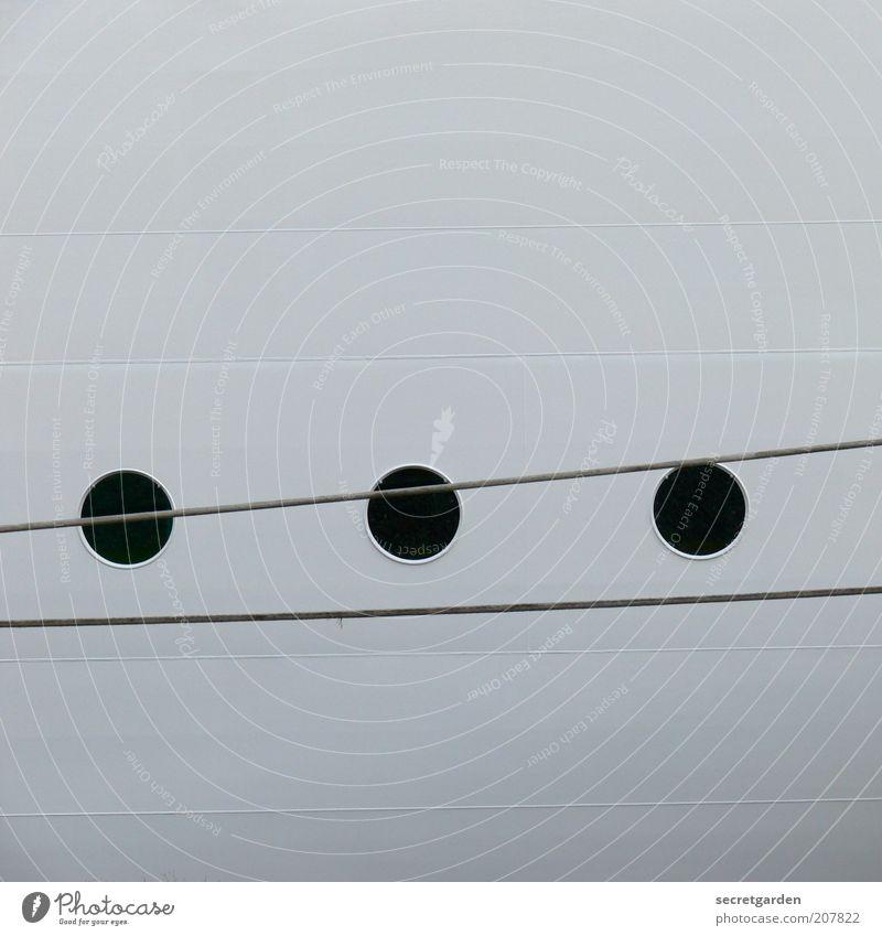 dreidimensional. Schifffahrt Kreuzfahrt Passagierschiff Jacht Seil Bullauge Stahl Linie klein rund schwarz weiß abstrakt kreisrund Kreis graphisch Loch