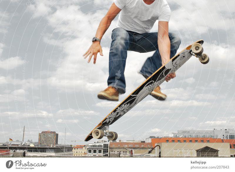 skylineboarding Mensch Sport Berlin springen Luft maskulin Lifestyle Freizeit & Hobby Fitness Skyline Skateboard Sport-Training trendy Trick kopflos