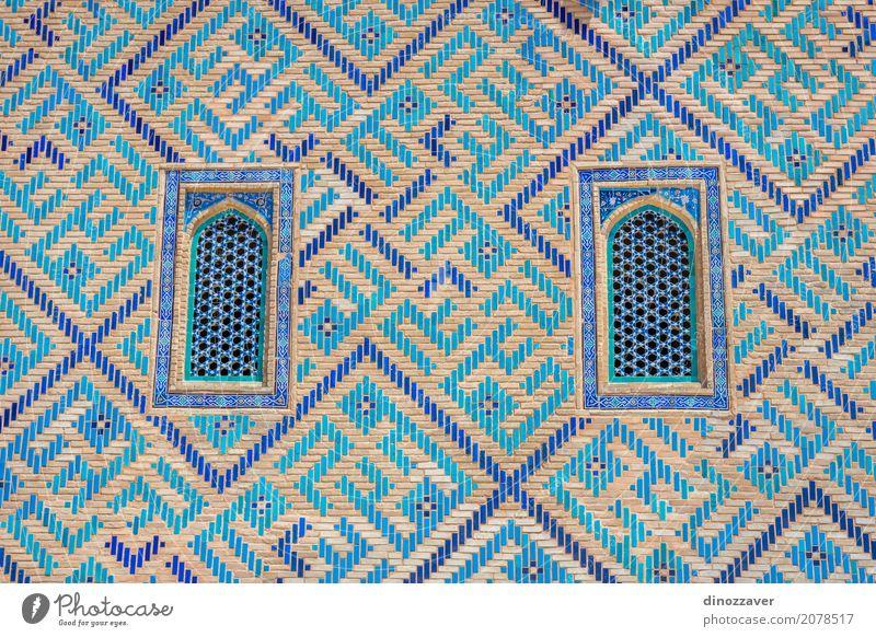 Fenster des Turkistan-Mausoleums, Kasachstan Ferien & Urlaub & Reisen alt blau schön Religion & Glaube Architektur Gebäude Tourismus Stein Design Kultur Platz