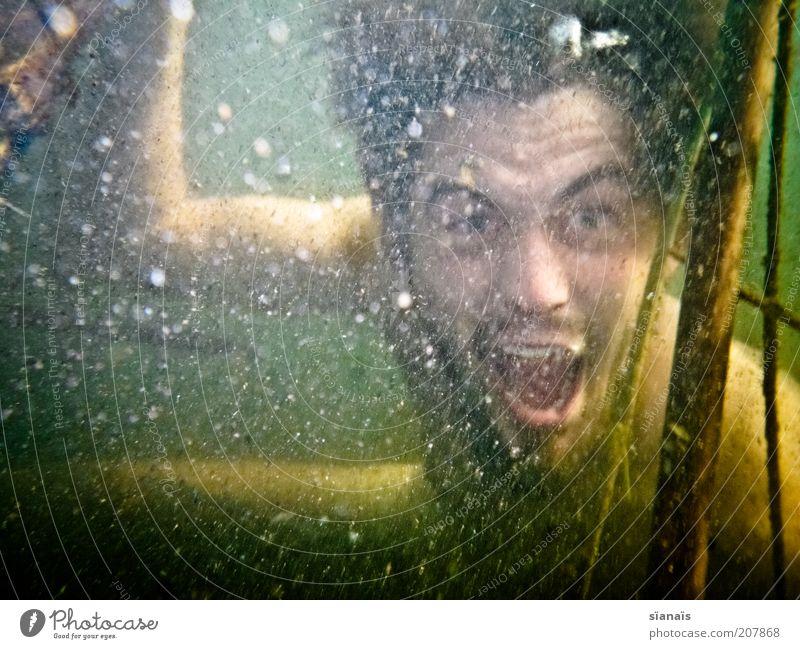 kampfgeist tauchen Mensch maskulin Mann Erwachsene Natur Wasser schreien toben verrückt Wut Freude Begeisterung Tapferkeit Aggression skurril bedrohlich