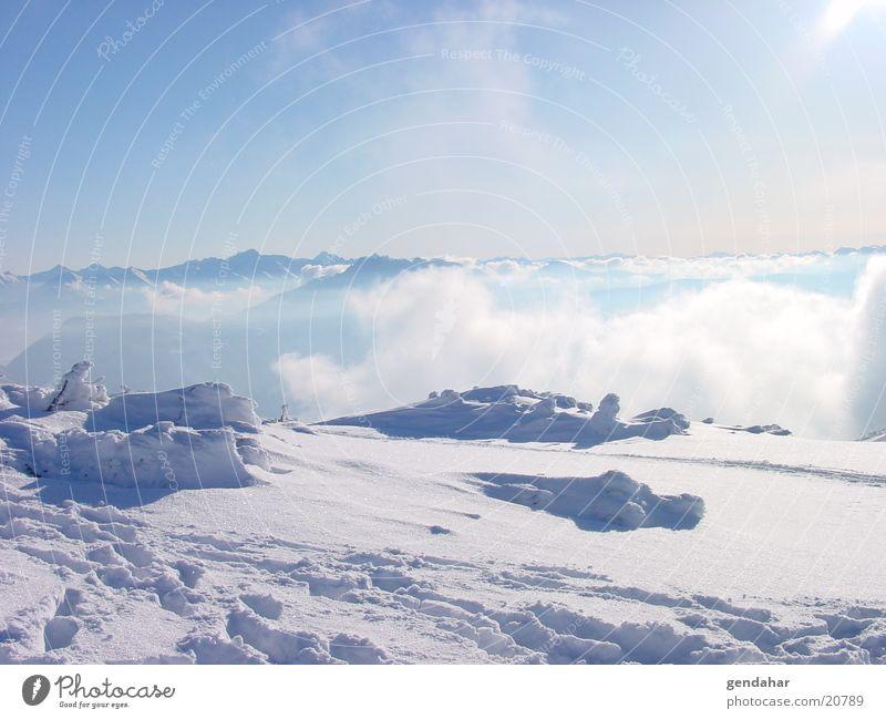 Bergwelt Himmel weiß Wolken Schnee Berge u. Gebirge Gletscher Sport