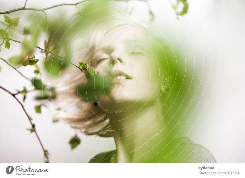 Silence Mensch Natur Jugendliche schön Pflanze Blatt ruhig Gesicht Erholung Leben Bewegung Frühling träumen Erwachsene Gesundheit