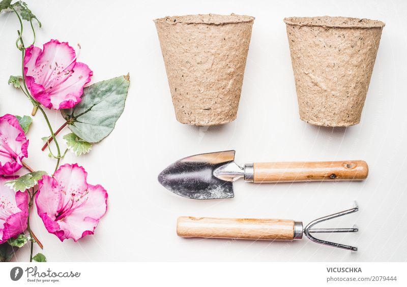 Gartengeräte für die Pflanzung mit Blumen Lifestyle Stil Freizeit & Hobby Sommer Häusliches Leben Natur Pflanze Frühling Blatt Blüte Fahne rosa Freude Design