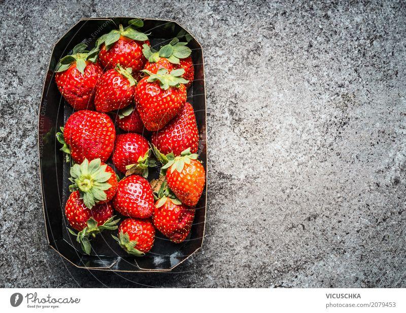 Erdbeeren Lebensmittel Frucht Dessert Ernährung Bioprodukte Vegetarische Ernährung Diät Stil Design Gesunde Ernährung Sommer Natur Hintergrundbild Packung