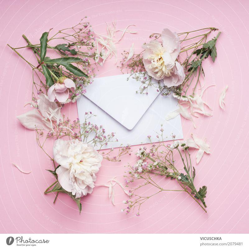 Brief Umschlag mit weißen Blumen auf rosa Hintergrund Pflanze Sommer Lifestyle Liebe Hintergrundbild Gefühle Stil Feste & Feiern Stimmung Design retro